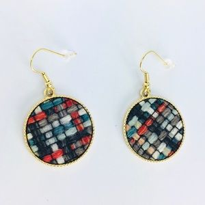 New! Multicolored Woven Round Earrings Gold